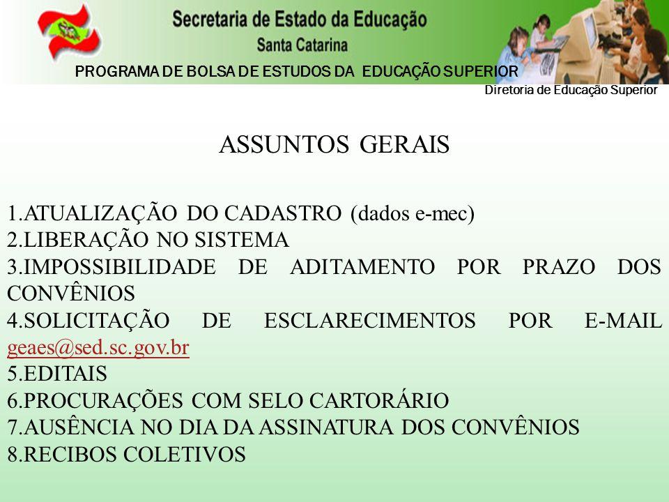 ASSUNTOS GERAIS ATUALIZAÇÃO DO CADASTRO (dados e-mec)