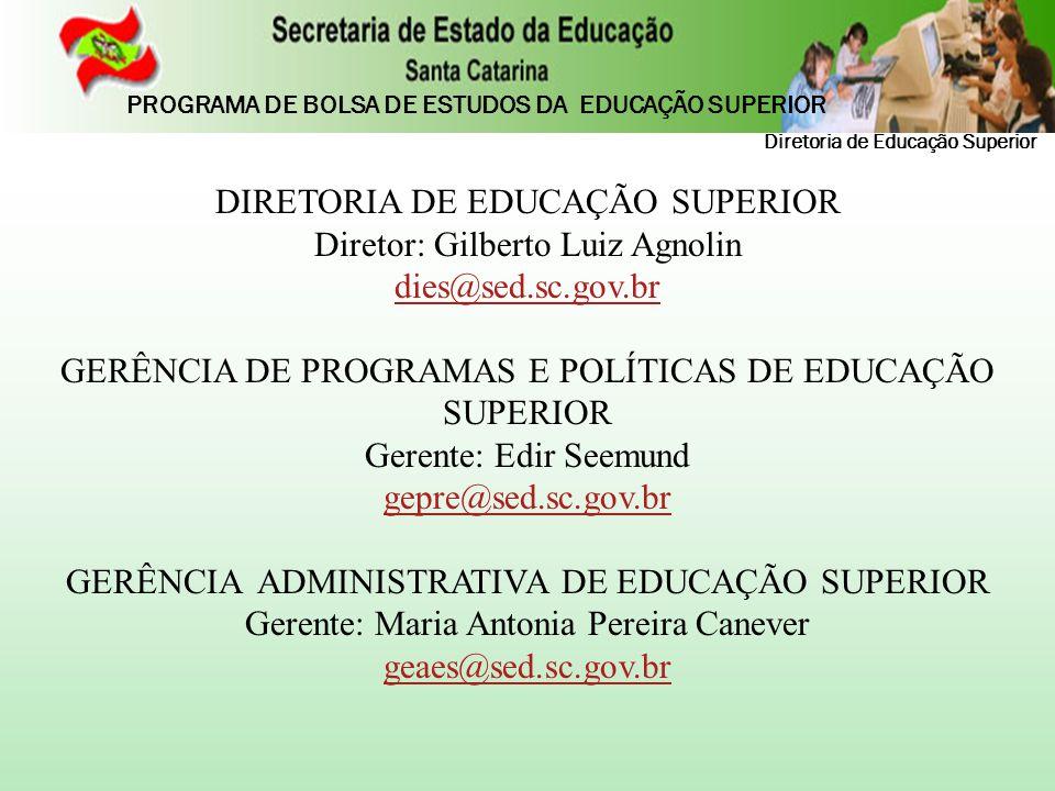 DIRETORIA DE EDUCAÇÃO SUPERIOR Diretor: Gilberto Luiz Agnolin