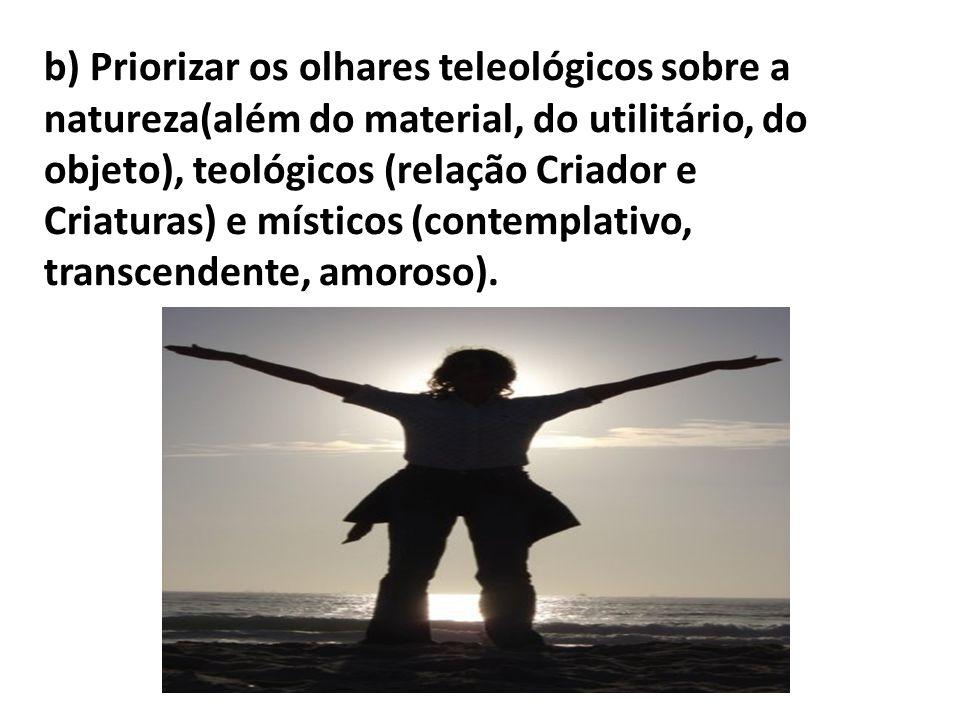 b) Priorizar os olhares teleológicos sobre a natureza(além do material, do utilitário, do objeto), teológicos (relação Criador e Criaturas) e místicos (contemplativo, transcendente, amoroso).