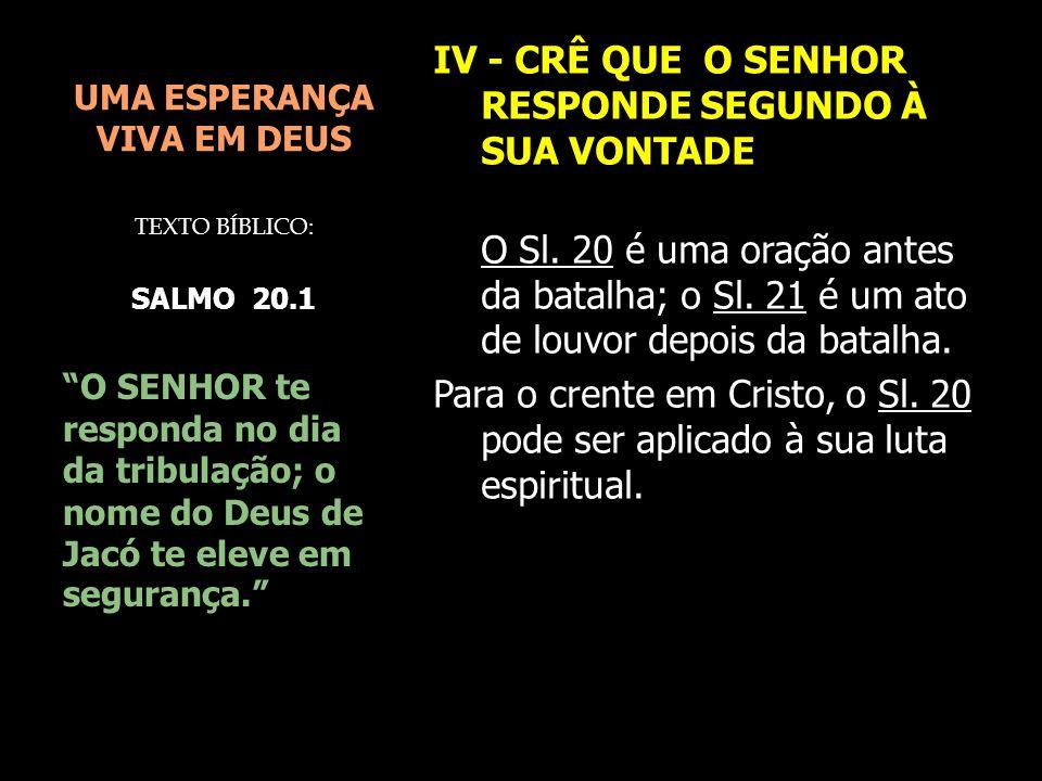 UMA ESPERANÇA VIVA EM DEUS
