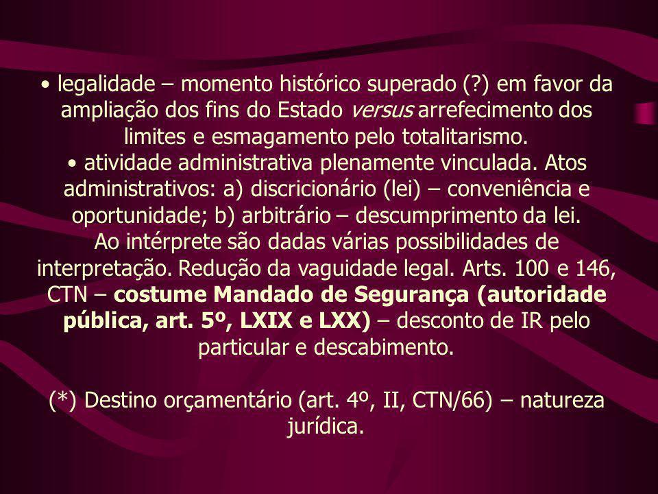 (*) Destino orçamentário (art. 4º, II, CTN/66) – natureza jurídica.