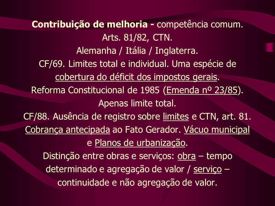 Contribuição de melhoria - competência comum. Arts. 81/82, CTN