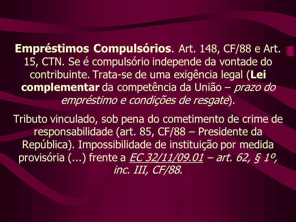 Empréstimos Compulsórios. Art. 148, CF/88 e Art. 15, CTN