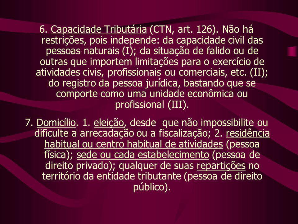 6. Capacidade Tributária (CTN, art. 126)