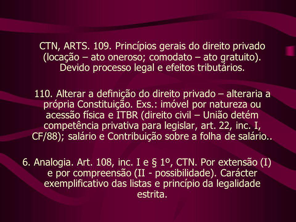 CTN, ARTS. 109. Princípios gerais do direito privado (locação – ato oneroso; comodato – ato gratuito). Devido processo legal e efeitos tributários.
