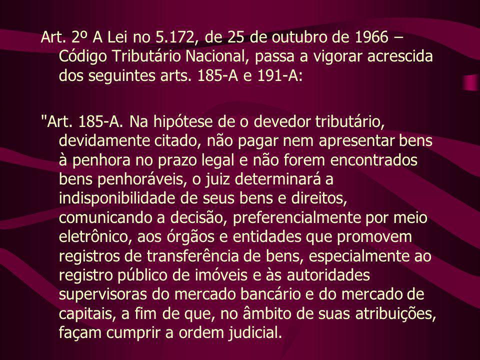 Art. 2º A Lei no 5.172, de 25 de outubro de 1966 – Código Tributário Nacional, passa a vigorar acrescida dos seguintes arts. 185-A e 191-A:
