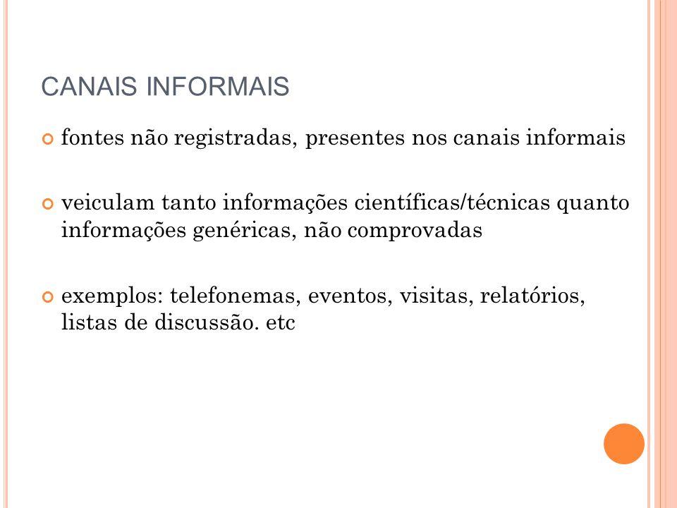 CANAIS INFORMAIS fontes não registradas, presentes nos canais informais.