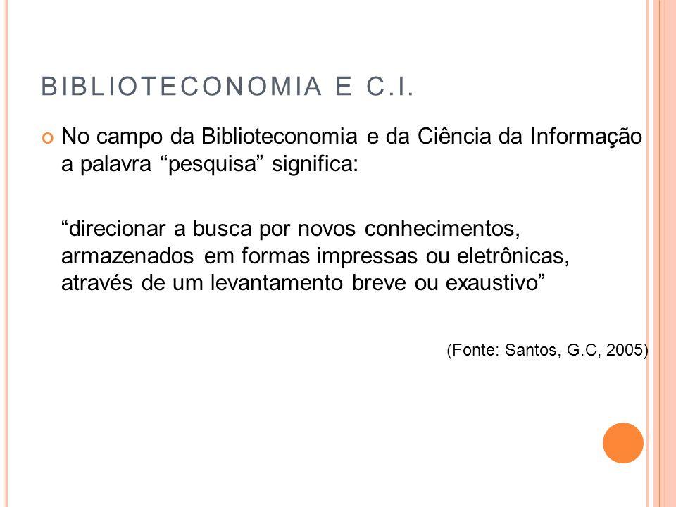 BIBLIOTECONOMIA E C.I. No campo da Biblioteconomia e da Ciência da Informação a palavra pesquisa significa: