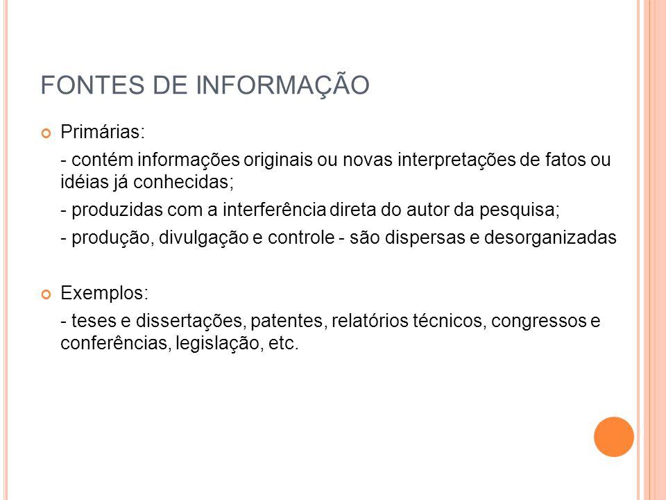FONTES DE INFORMAÇÃO Primárias: