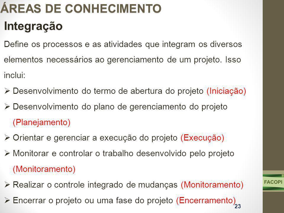ÁREAS DE CONHECIMENTO Integração