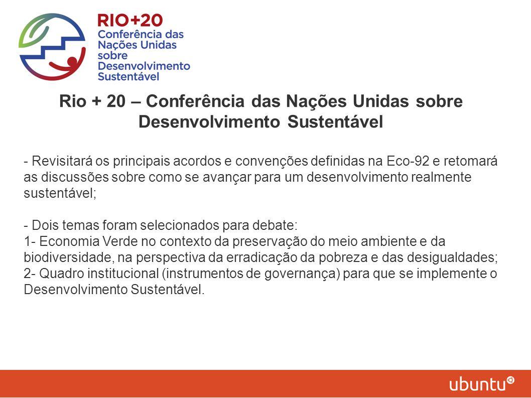 Rio + 20 – Conferência das Nações Unidas sobre Desenvolvimento Sustentável