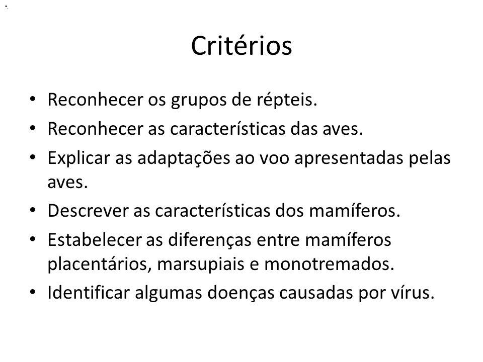 Critérios Reconhecer os grupos de répteis.