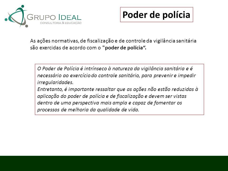Poder de polícia As ações normativas, de fiscalização e de controle da vigilância sanitária são exercidas de acordo com o poder de polícia .