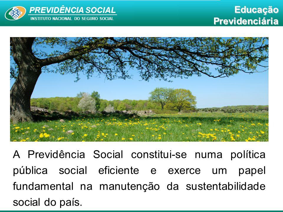 A Previdência Social constitui-se numa política pública social eficiente e exerce um papel fundamental na manutenção da sustentabilidade social do país.