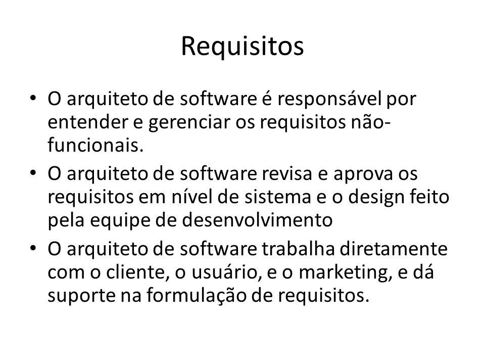 Requisitos O arquiteto de software é responsável por entender e gerenciar os requisitos não-funcionais.