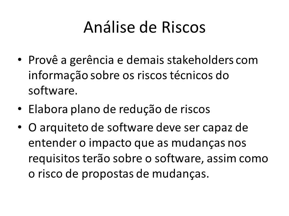 Análise de Riscos Provê a gerência e demais stakeholders com informação sobre os riscos técnicos do software.