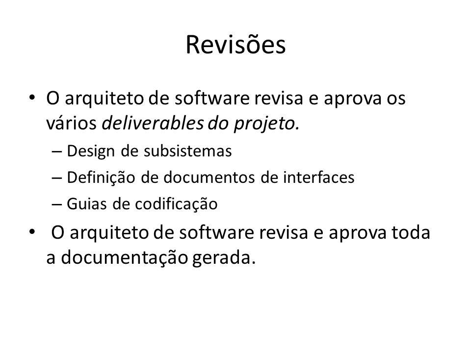 Revisões O arquiteto de software revisa e aprova os vários deliverables do projeto. Design de subsistemas.