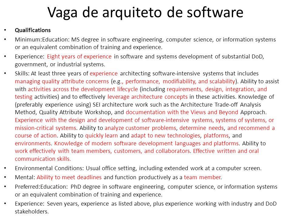Vaga de arquiteto de software