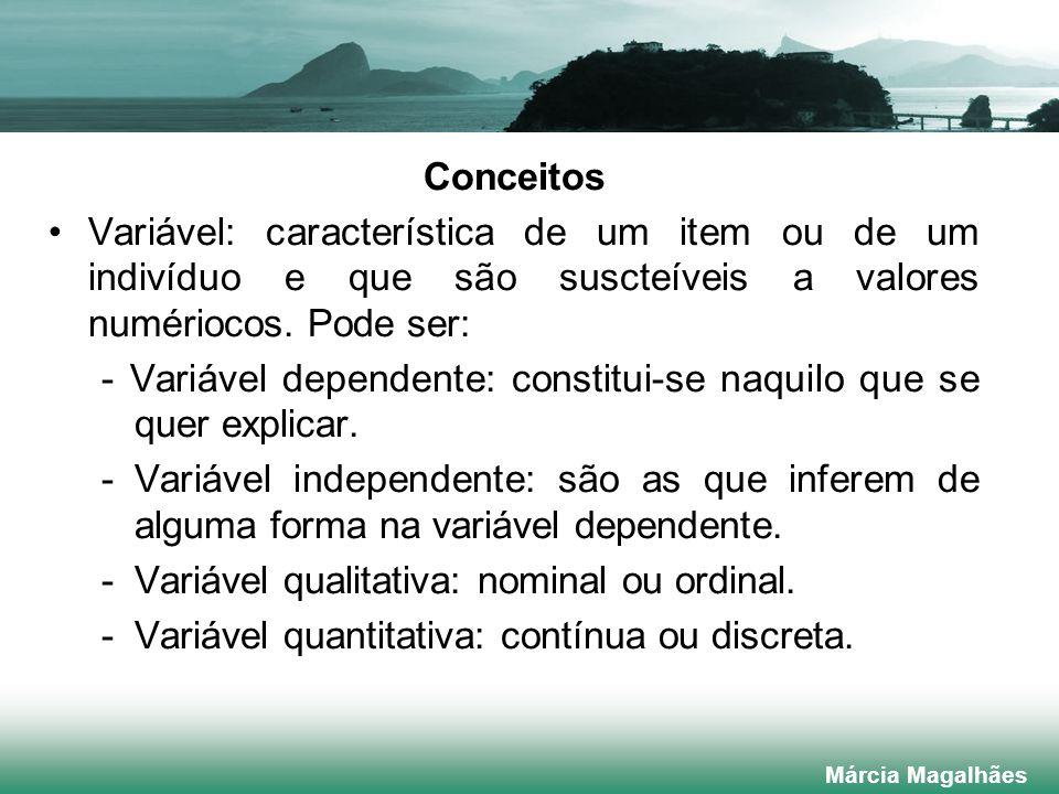 - Variável dependente: constitui-se naquilo que se quer explicar.