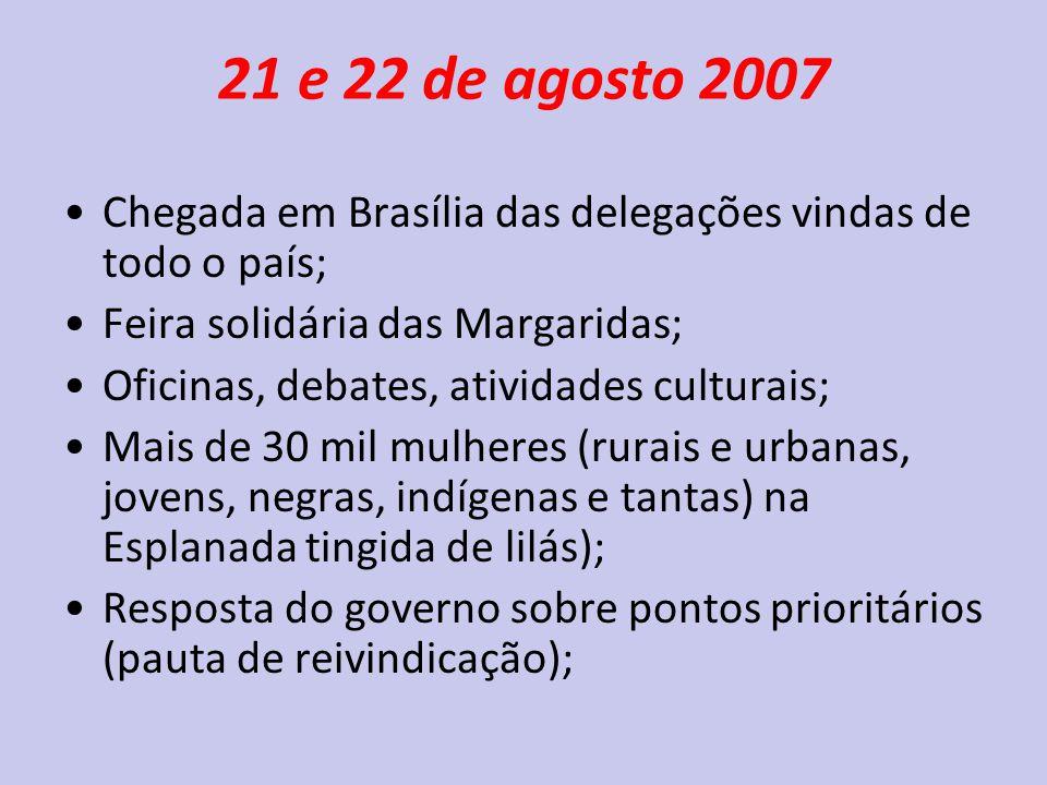 21 e 22 de agosto 2007 Chegada em Brasília das delegações vindas de todo o país; Feira solidária das Margaridas;