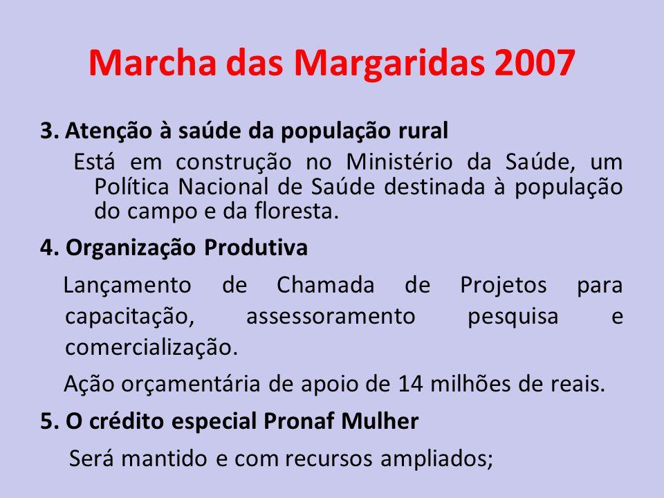 Marcha das Margaridas 2007 3. Atenção à saúde da população rural