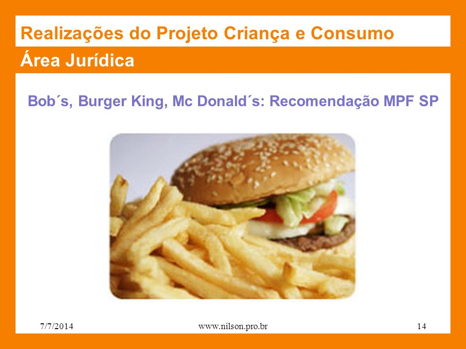 Bob´s, Burger King, Mc Donald´s: Recomendação MPF SP