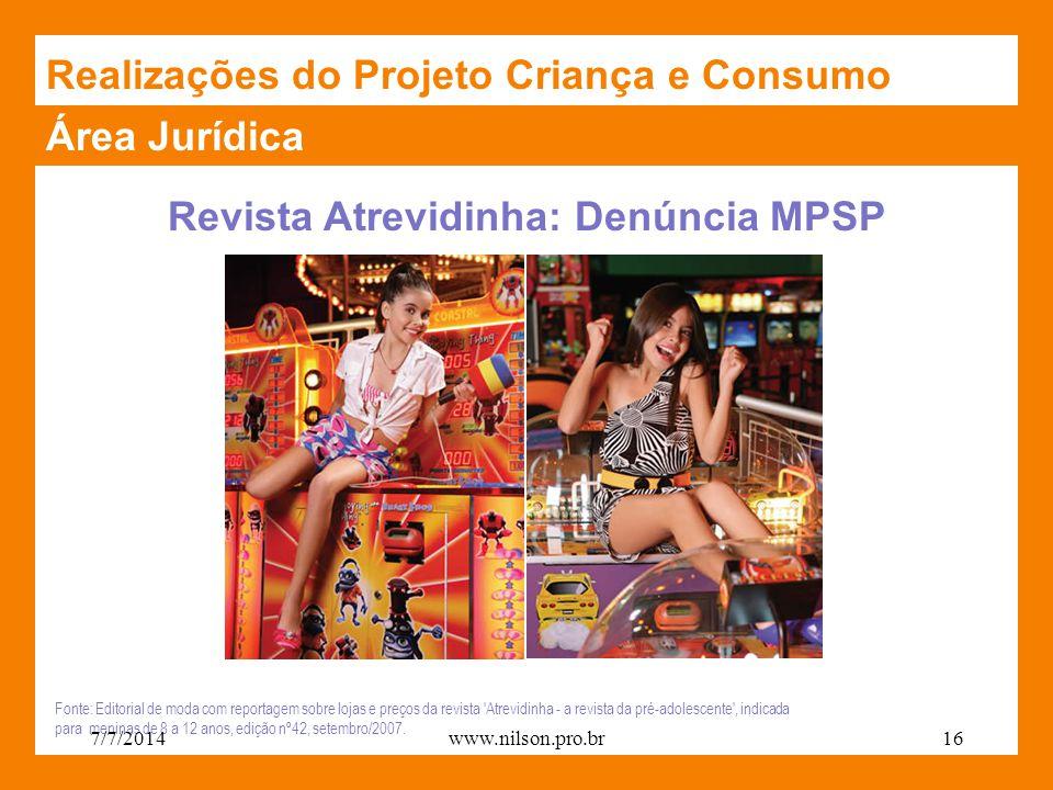 Revista Atrevidinha: Denúncia MPSP