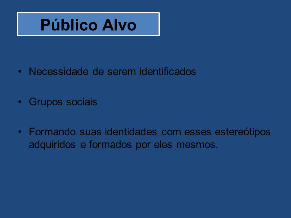 Público Alvo Necessidade de serem identificados Grupos sociais