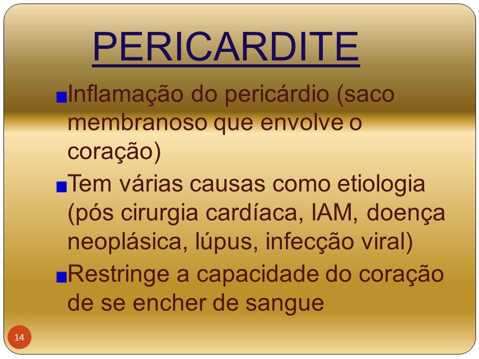 PERICARDITE Inflamação do pericárdio (saco membranoso que envolve o coração)