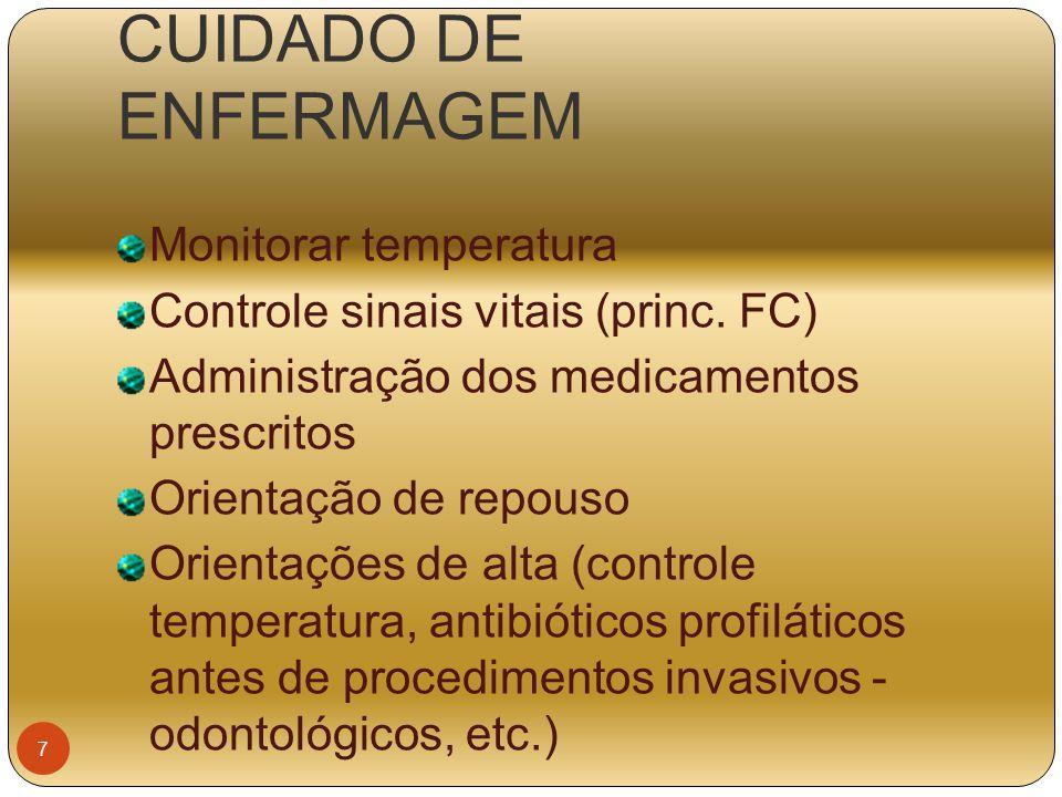CUIDADO DE ENFERMAGEM Monitorar temperatura