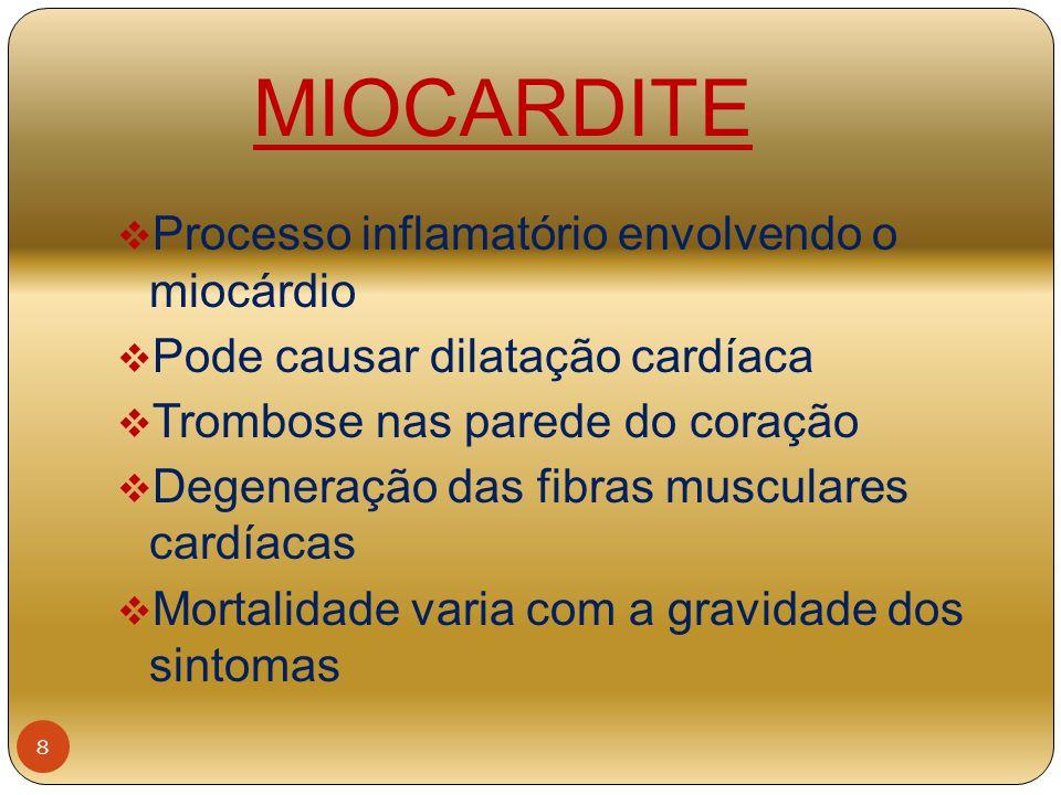 MIOCARDITE Processo inflamatório envolvendo o miocárdio