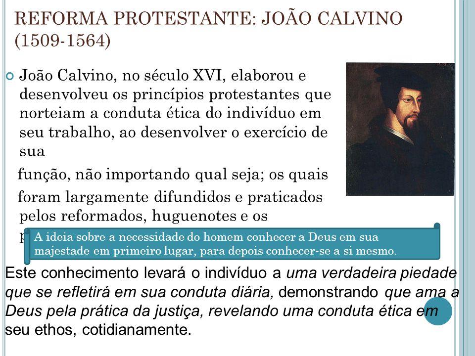 REFORMA PROTESTANTE: JOÃO CALVINO (1509-1564)