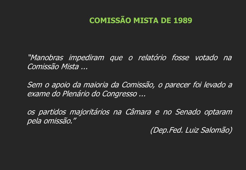 COMISSÃO MISTA DE 1989 Manobras impediram que o relatório fosse votado na Comissão Mista ...
