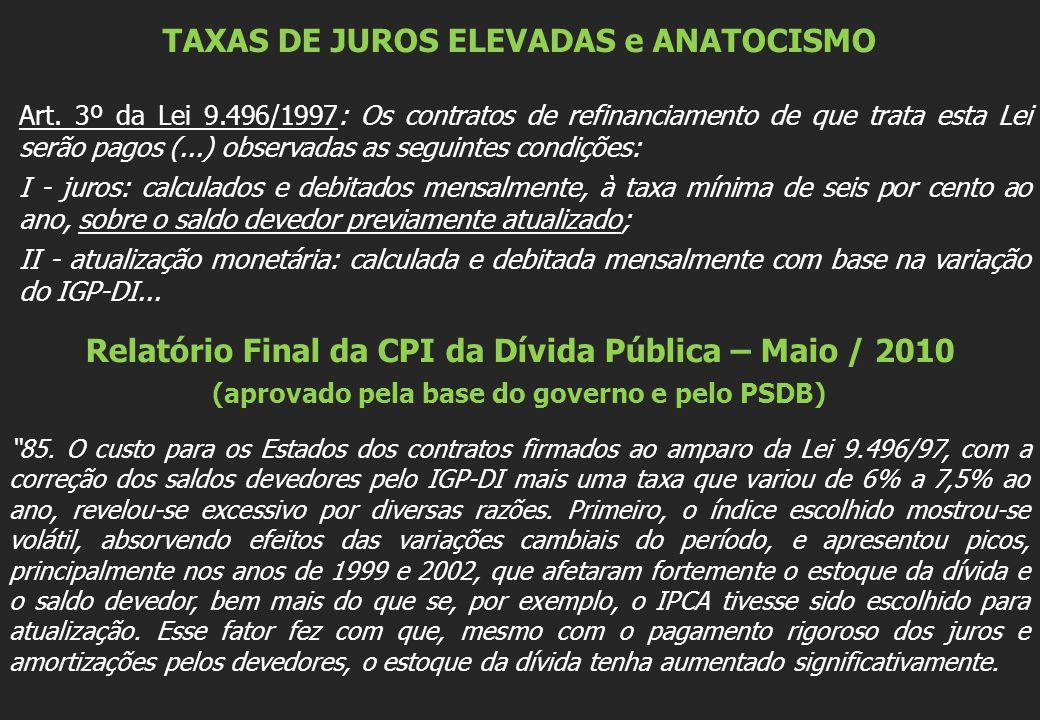 TAXAS DE JUROS ELEVADAS e ANATOCISMO