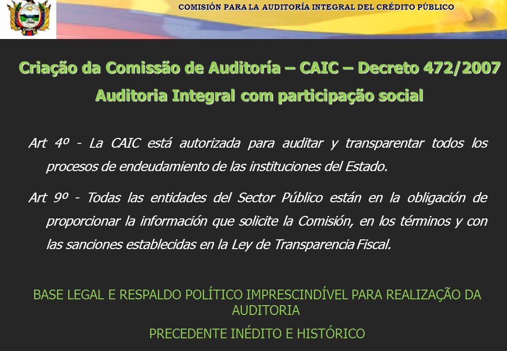 Criação da Comissão de Auditoría – CAIC – Decreto 472/2007