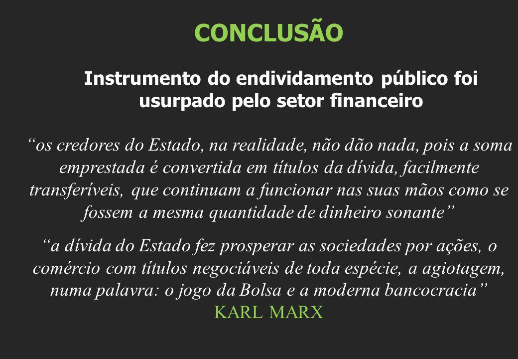 CONCLUSÃO Instrumento do endividamento público foi usurpado pelo setor financeiro.