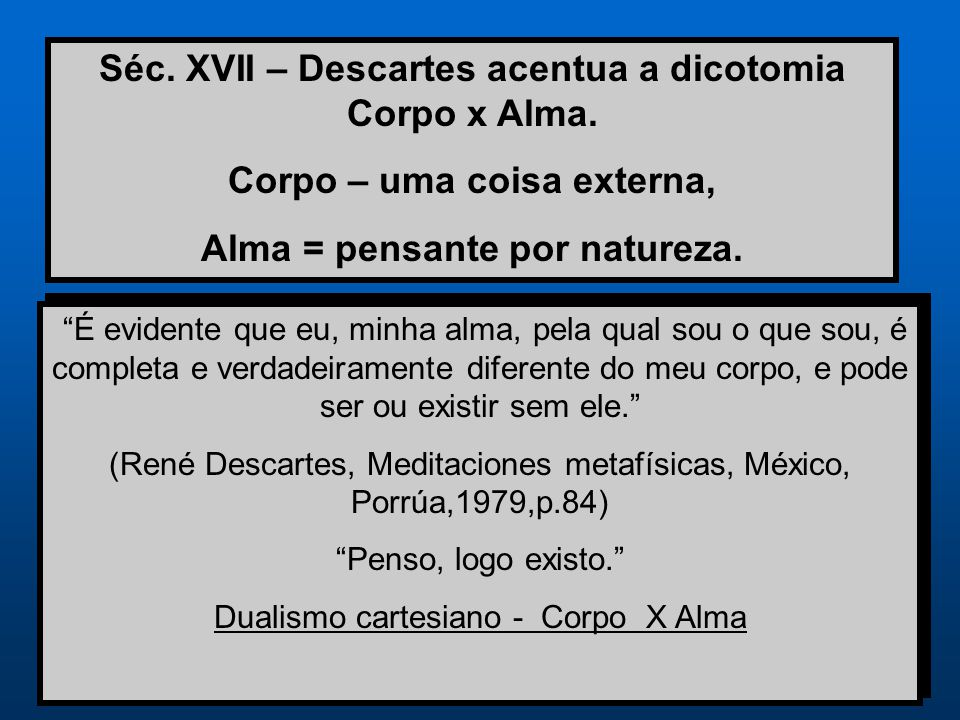 Séc. XVII – Descartes acentua a dicotomia Corpo x Alma.