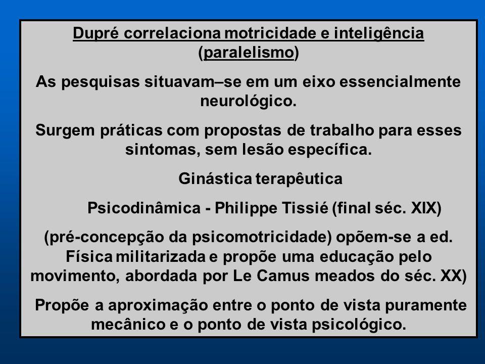 Dupré correlaciona motricidade e inteligência (paralelismo)
