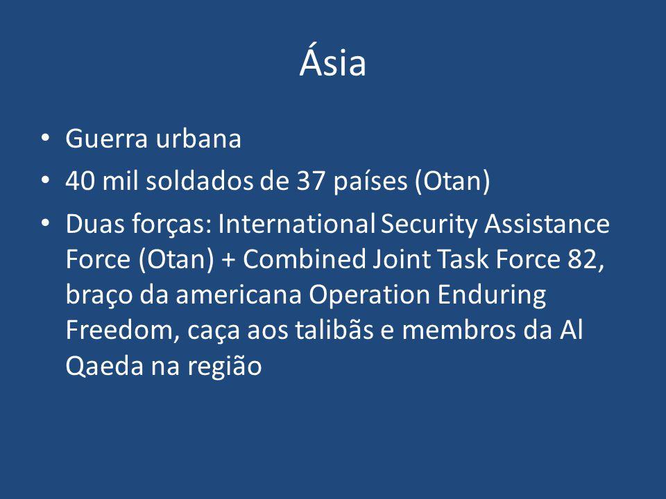 Ásia Guerra urbana 40 mil soldados de 37 países (Otan)