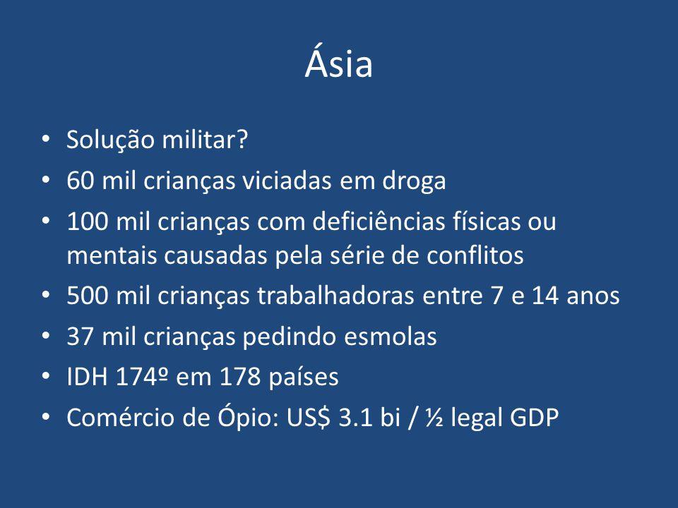 Ásia Solução militar 60 mil crianças viciadas em droga