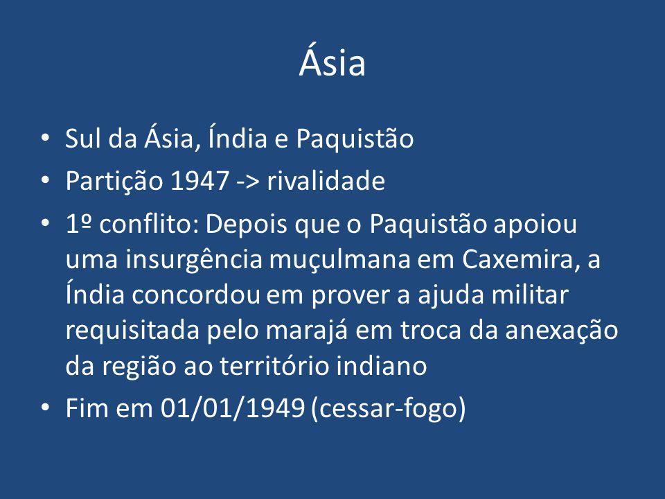 Ásia Sul da Ásia, Índia e Paquistão Partição 1947 -> rivalidade
