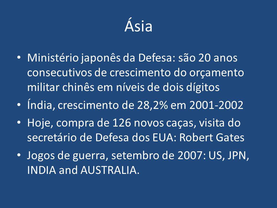 Ásia Ministério japonês da Defesa: são 20 anos consecutivos de crescimento do orçamento militar chinês em níveis de dois dígitos.