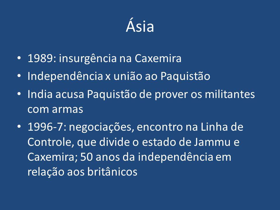 Ásia 1989: insurgência na Caxemira Independência x união ao Paquistão
