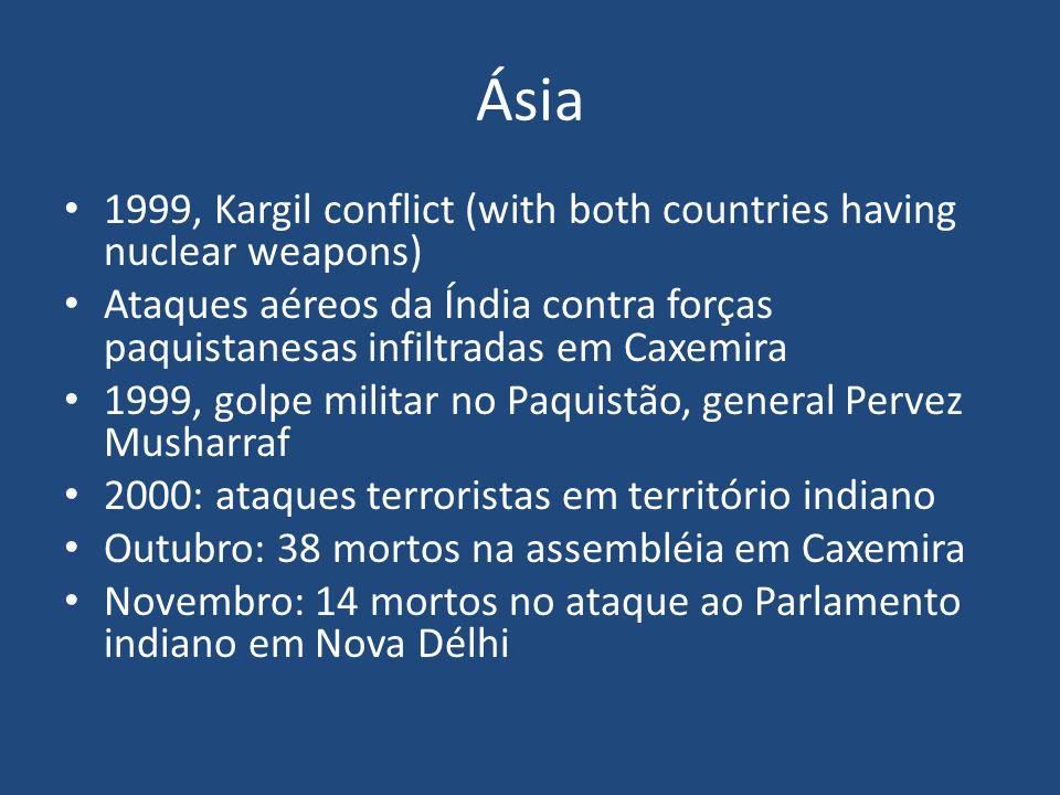 Ásia 1999, Kargil conflict (with both countries having nuclear weapons) Ataques aéreos da Índia contra forças paquistanesas infiltradas em Caxemira.