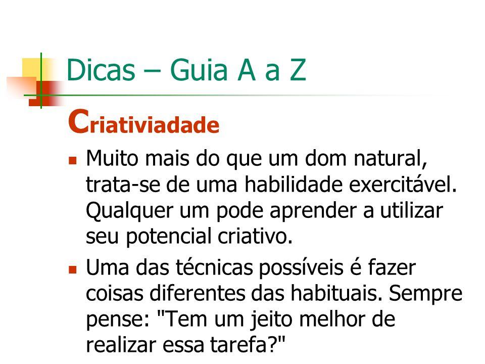 Criativiadade Dicas – Guia A a Z