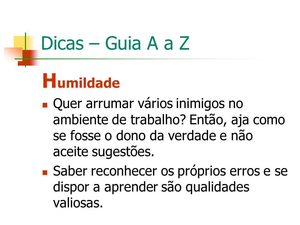 Humildade Dicas – Guia A a Z