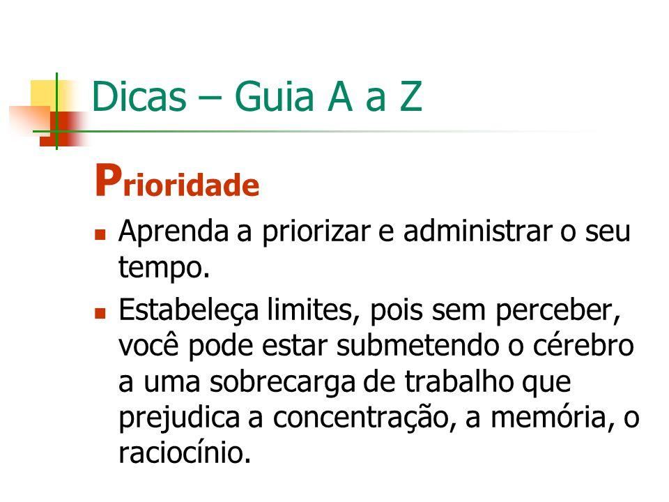 Prioridade Dicas – Guia A a Z