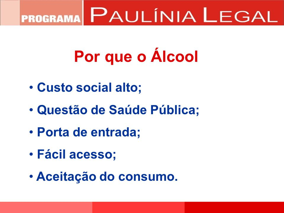 Por que o Álcool Custo social alto; Questão de Saúde Pública;