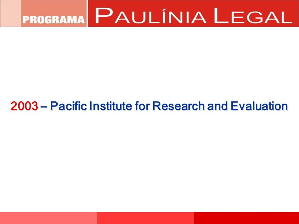 2003 – Pacific Institute for Research and Evaluation