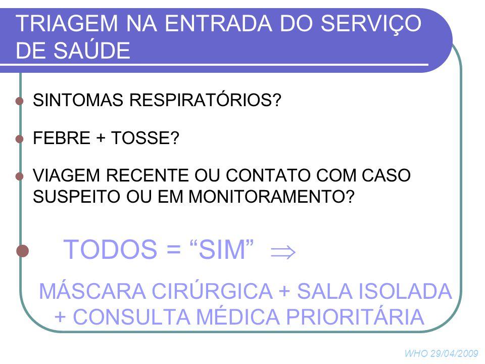 TRIAGEM NA ENTRADA DO SERVIÇO DE SAÚDE